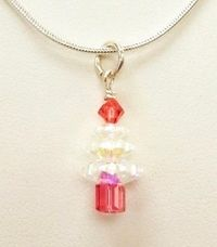 "Christmas Tree Pendant Necklace Kit includes 18"" Snake Chain with SWAROVSKI® ELEMENTS Coral"